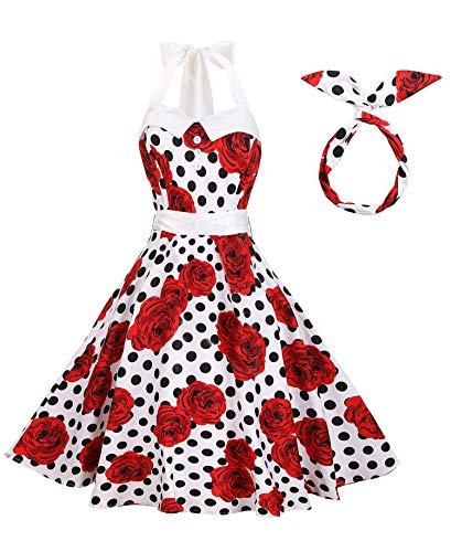 Lolichy Women 50s Rockabilly White Black Polka Dots with Red Floral Halter Style Vintage Swing Party Dresses Plus Size 2XL