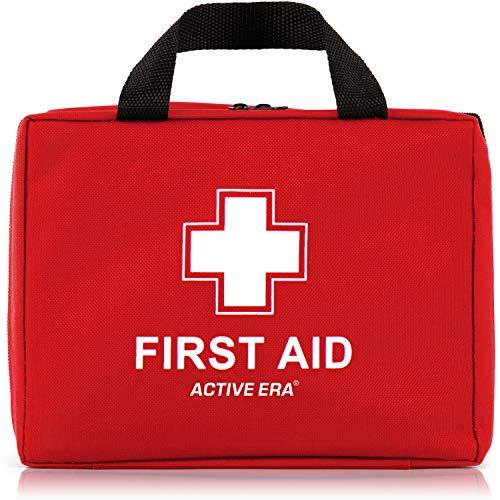 220-teiliges Premium Erste-Hilfe-Set - enthält Sofort Kühlpacks,CPR Maske, Augenspülung, Rettungsdecke für zu Hause, Büro oder Auto | Rot