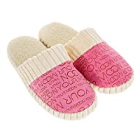 AHOMI Unisex Warm Soft Anti-Slip Letter Cotton Slipper Shoes Pink 38-39 Women Dressing up