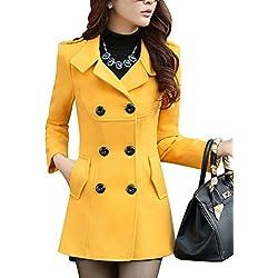 Clásica Doble Filas de Botones Chaqueta Con Casual Largo Abrigo Para Mujer Amarillo S