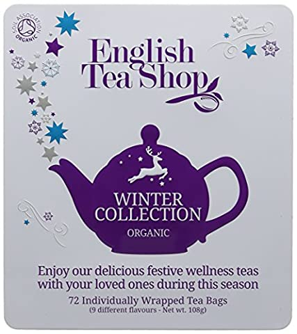 English Tea Shop Organic Holiday Winter Tin Chamber Poly Sachet