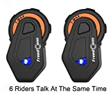 Interfono Bluetooth TMAX Moto, Auricolare Bluetooth, Interphone Cuffie per Equitazione/Sci/Motoslitta/Scooter/ATV, 6 Simultaneous Intercom Riders/Radio FM/Gamma 1500m(2 PACK)