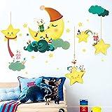 #8: Decals Design 'Cute Cartoon Moon Stars Clouds with Rabbit Family' Wall Sticker (PVC Vinyl, 60 cm x 90cm)