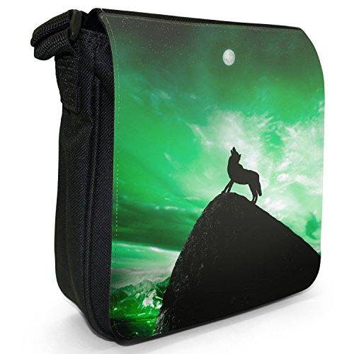 Lupo che ulula alla luna piena-Borsa a tracolla in tela, piccola, colore: nero, taglia: S Green