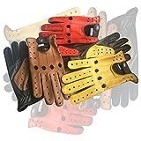 Herren Klassisch Echt Kuh Nappa Leder Fahrer Handschuh Motorrad Kleid Fashion Handschuhe Paar 507 Gelb Schwarz Stars - Tan-schwarz-Sterne, XL