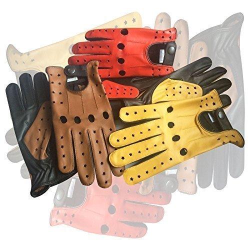 Herren Klassisch Echt Kuh Nappa Leder Fahrer Handschuh Motorrad Kleid Fashion Handschuhe Paar 507 Gelb Schwarz Stars - rot-schwarz-Sterne, L (Leder-kleid-handschuhe Gefütterte)