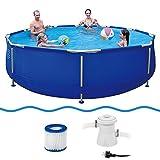 Jilong 6920388627009Kit piscine hors-sol avec cartouches filtre pompe, 360x 76cm Diamètre, Sirocco Bleu