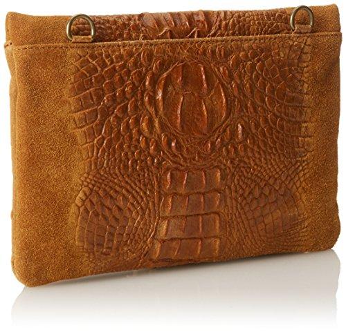 CTM Pochette da donna, borsetta a spalla in vera pelle made in Italy - 29x19x2 Cm Cuoio