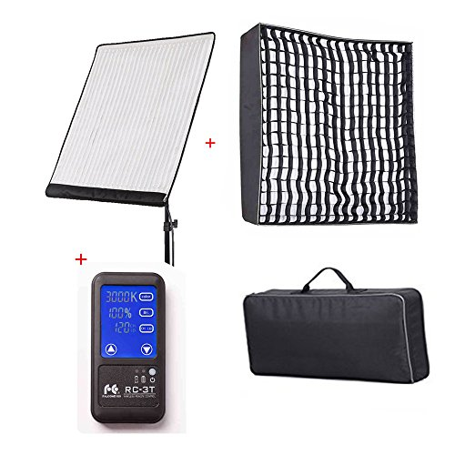 Falcon Eyes RX-24TDX (Upgraded Version) 150W 3000-5600K Bi-Color LED Photo Light with RX-24TDXSBHC Honeycomb Grid Softbox and RC-3T Remote Control Grid Reflector Kit