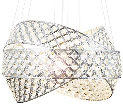 Luxus Design Kronleuchter Kristall Hängeleuchte Deckenleuchte Pendellampe mit K9 Glaskristallen und Led G9 Pendelleuchte Lüster Ø50cm Lewima Orbius