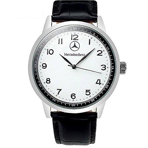 Mercedes Benz - Orologio al quarzo sportivo, con quadrante rotondo bianco, cinturino nero, batteria di ricambio e sacchetto regalo inclusi