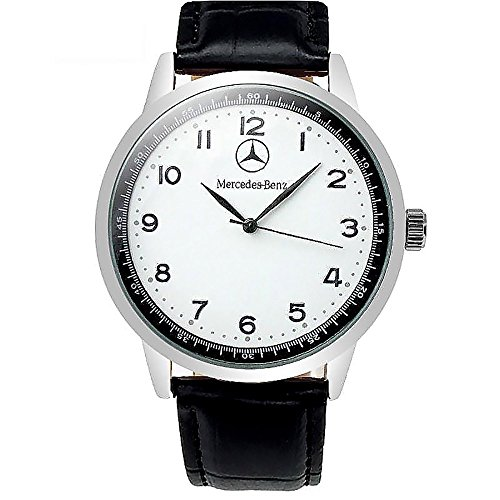 Mercedes Benz Quarz-Sportarmbanduhr, weißes Ziffernblatt, schwarzes Band, Ersatzbatterie, Geschenkverpackung