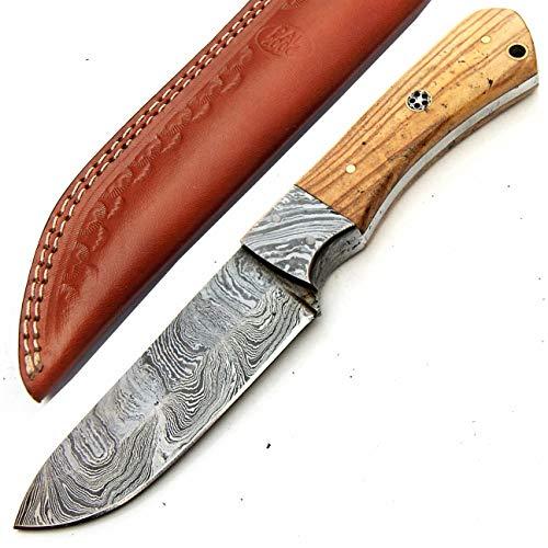 PAL 2000 SGSA-9390 Couteau en Acier damassé Fait Main Manche en Bois d'olivier 22 cm avec Fourreau en Cuir | Cuisinier | Camping | Cuisine | lingots en Acier damassé | Couverts Damasasus