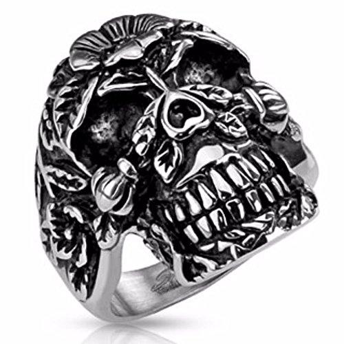 Spikes uomo Sugar Skull colato Biker anello in acciaio usato  Spedito ovunque in Italia