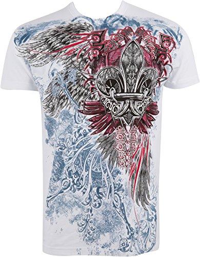 Sakkas 655T Angel Five metallisch geprägten Herren Mode T-Shirt - Weiß/Medium -