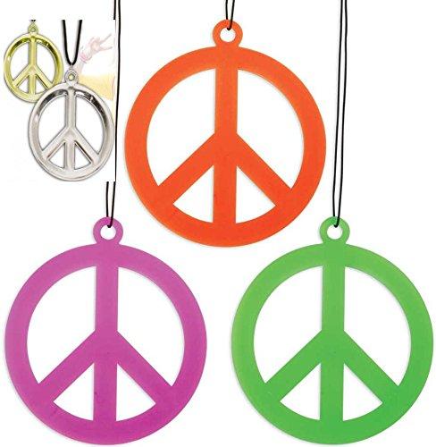 Peace Zeichen, Hippie Anhänger für Karneval, Faschings, Party (gold)