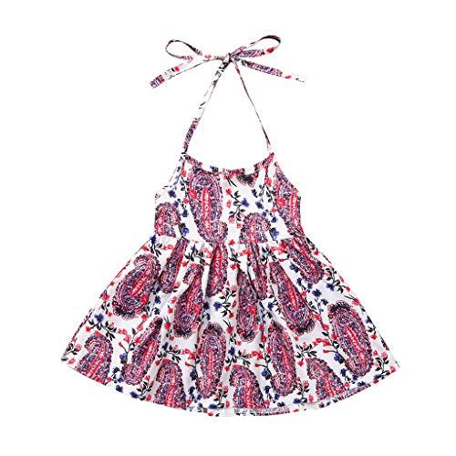 LEXUPE Kinder Baby Mädchen ärmellose Hosenträger Blumendruck Kleid Kinder Sommerkleid(Mehrfarbig,80)