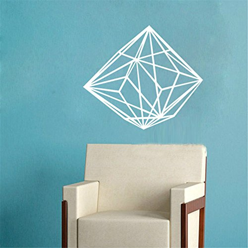 yanqiao Geometrische Persönlichkeit Creative Line Diamant Wand Aufkleber 3D Vinyl Aufkleber handgefertigt Art Custom Zuhause Dekorieren Größe 64,5x 55,4cm Gold Weiß Cars Film-wand-aufkleber