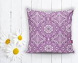 Beauty Home - Solak - 2er Set Dekoratives Kissenbezug - Kissenhülle Digital Bedruckt - 43 x 43 cm (Lila)