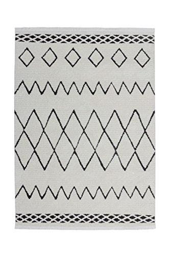 Teppich Wohnzimmer Carpet Orientalisch Modern Design Agadir 310 Rug Zick-Zack Muster Polypropylen 160x230 cm Schwarz/Teppiche günstig online kaufen