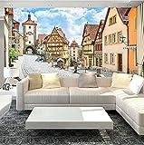 ATR 3D Country Style Adesivo murale Campagna Street e Case Foto Wallpaper Biancheria da Letto Camera TV Sfondo Carta da Parati Murale, (L) 260x (A) 180 cm