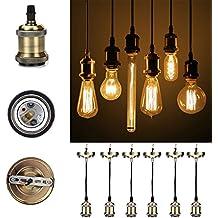 GreenSun Vintage colgante luz Kit 6-Pack RQ, envejecido DIY lámpara de techo Loft industrial, colgante retro lámpara de araña, Base E27Cerámica Lámpara Soporte, 3Core Cable de 1,35M