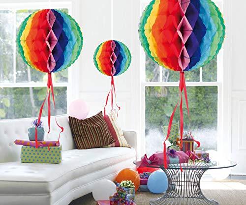 3 decoraciones colgantes en forma de panal en forma de bola multicolor