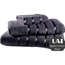 Juego de 3 toallas de algodón 100% egipcio de UAREHOME DIRECT, toalla de mano, toalla y toallón, 11 colores, calidad de hotel, algodón, gris oscuro, SET OF 3 HAND TOWELS