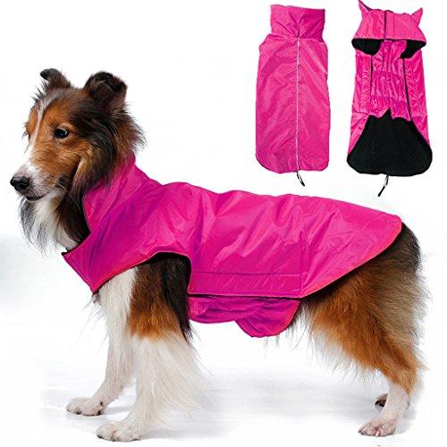 Wasserdicht Hund Mantel Jacke Fleece Gefuettert Regenkleidung Xxxl Rosarot