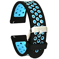 Elespoto Silicone 22mm Watch Strap For Samsung Gear S3 Frontierclassicgear 2neolivemoto 360 2nd 46mmpebble Timelg G Watch W100w110urbane Smartwatch Replacement Bands (Black Blue)