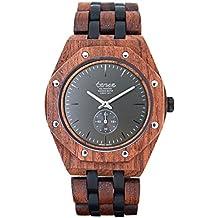 Premium en bois horloge Tense Mens North Washington (fabriqué en Canada)–Bois de rose/bois de santal Montre pour homme Marron/Noir–j5845rd/Gris