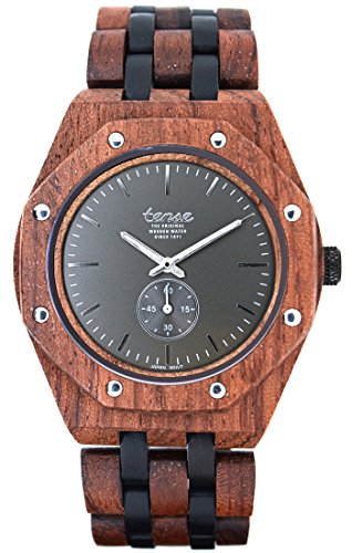 TENSE Holzuhr Herren Katalox Leadwood Ø 45 mm Armbanduhr Washington North analog Quarz J5845RD-GREY
