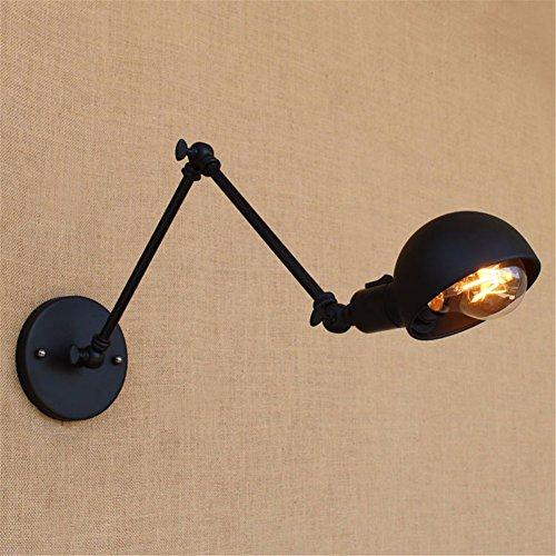Wandleuchte Schlafzimmer Bett hotel restaurant Vintage schwarz matt mit langem Arm, doppelt Lichtschalter an der Wand Licht, Schwarz, 30 + 30 cm (Bett-lichtschalter)