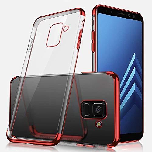 Herbests Custodia Case Compatibile con Samsung Galaxy A8 Plus 2018 Trasparente Cover Ultra Sottile TPU Silicone Custodia Protettiva Placcatura Bumper Case Crystal Clear Soft Silicone Cover, Rosso