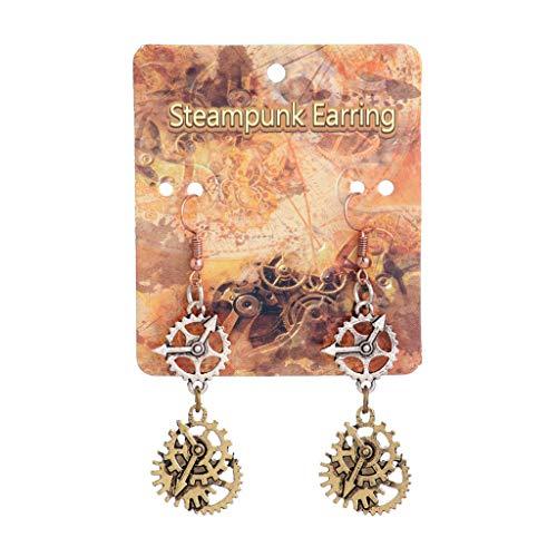 Gioielli, bellissimo piercing all'orecchio, orecchini a bottone, Orecchinis, Vintage Bronze Steampunk Cogwheel Wristwatch Gear Orecchinis Goth Punk Jewelry 2#
