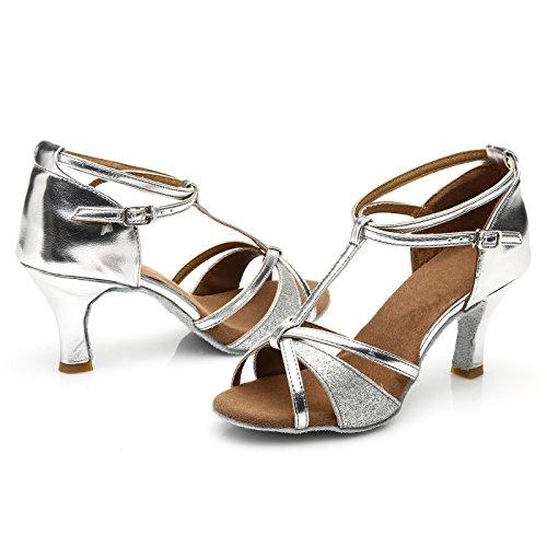 VESI - Damen Hoher Absatz Tanzschuhe Standard/Latein Silber 38(Absatz 5cm) - 5