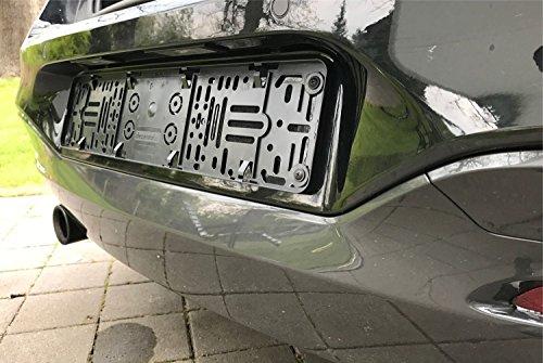 DEZENTOFIX CMS Kennzeichenhalter (EU Standard Grösse 52cm), Schwarz, Anzahl 2 - 5