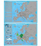 blupalu I 2er Set XXL Europakarte Zum Rubbeln mit Länder-Flaggen I Rubbel-Chip I Landkarte Zum Freirubbeln I Sehenswürdigkeiten I 89 x 59 cm | Deutsch | Poster