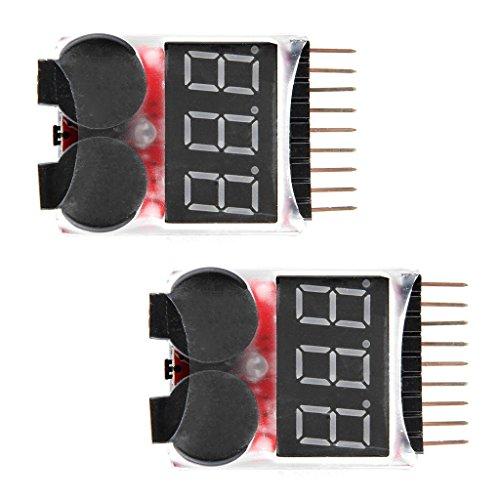 WINGONEER 2PCS RC Lipo Batería Monitor de la alarma del probador Comprobador de bajo voltaje alarma del zumbador con indicador LED para 1-8 S Lipo LiFe LiMn Li-ion de la batería