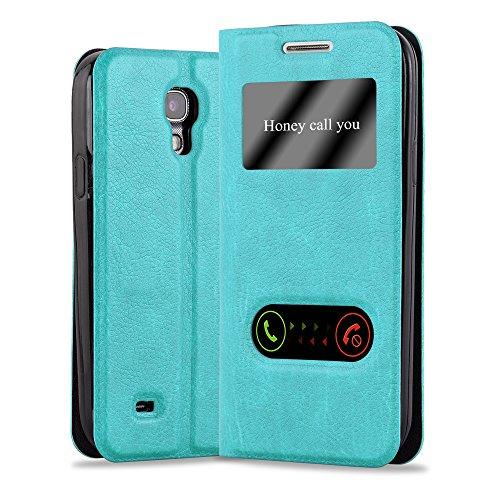 Cadorabo Coque pour Samsung Galaxy S4 en Turquoise Menthe - Housse Protection avec Stand Horizontal, Fente Carte et Deux Fenêtres - View Etui Poche Folio Case Cover