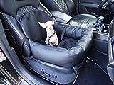 knuffliger Siège auto pour chien, chat ou animal avec sangle et fixation siège Größe 50 x 55 x 20 cm Material: Leder, mit Hundegurt