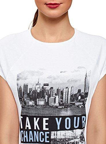 ... oodji Ultra Damen Bedrucktes T-Shirt mit Unbearbeitetem Saum Weiß (1023P)  ...