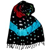 #10: PSS Green Inner with Multi-Color- Summer Scarf Soft Cotton Trendy Scarves, Stoles,Scarf for Women and Girls