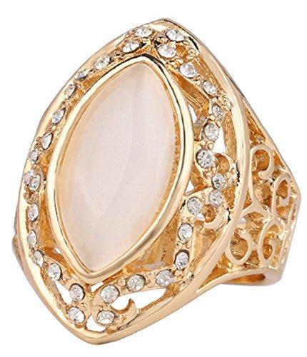 SaySure - 18K Rose Gold Platinum Plated Zircon Cat Eye Ring (SIZE : 10)
