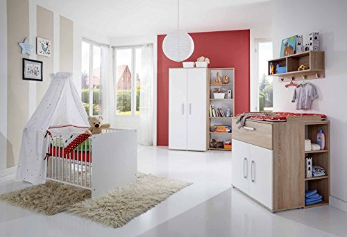 lifestyle4living Babyzimmer Komplettset in Weiß mit Eiche Sonoma, Babyzimmer Set besteht aus 4 Teilen, günstige Babyzimmermöbel sind hochwertig und pflegeleicht