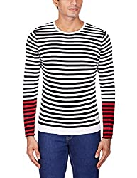 United Colors of Benetton Mens Cotton Sweater (8903975032033_15A1098K9020I901EL_XX-Large_White, Black and Red)