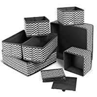 ilauke Fabric Dresser Drawer Dividers Set of 8 Wardrobe Closet Organiser Foldable Storage Box for Socks Underwear Bras Ties Toys