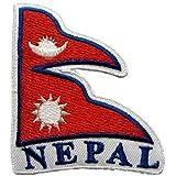 Parches - Nepal bandera - rojo - 7,8x6,8cm - termoadhesivos bordados aplique para ropa