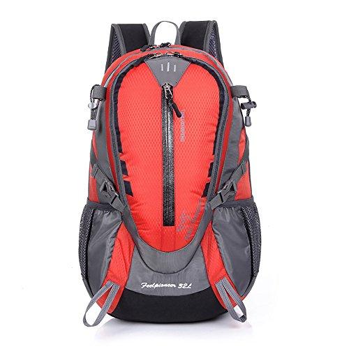 Zcl 32L zaino da escursionismo leggero Backpacking campeggio borsa a tracolla per sport all' aperto viaggio arrampicata trekking alpinismo giorno della, Uomo, Deep blue Red
