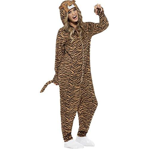 NET TOYS Tigerkostüm Jumpsuit Tiger Kostüm M 40/42 Ganzkörper Katzenkostüm Tierkostüm Raubkatze Overall Zoo Katze Damenkostüm Wildkatze Tier Faschingskostüm Karneval Kostüme Damen (Katze Ganzkörper Kostüm)